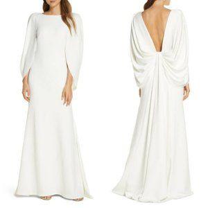 TADASHI SHOJI Cape Sleeve Plunging Back Crepe Gown
